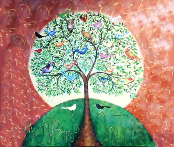 art print many birds one tree shows diverse birds all together in the tree of life