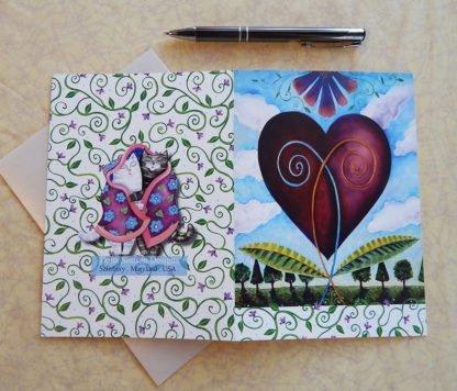 """Danasimson.com Back of """"heart"""" Gift card with vellum envelope"""