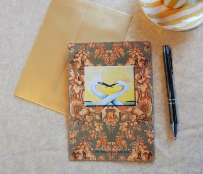 "Danasimson.com Back of ""heron"" Gift card with vellum envelope"