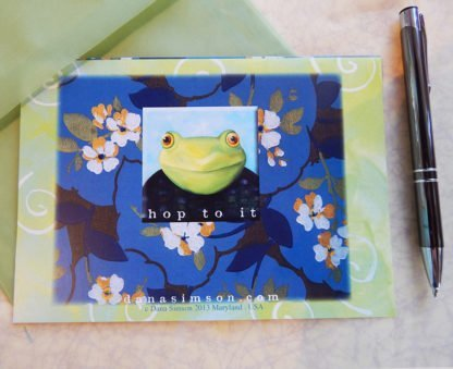 "Danasimson.com Back of ""Hop to it"" Gift card with vellum envelope"