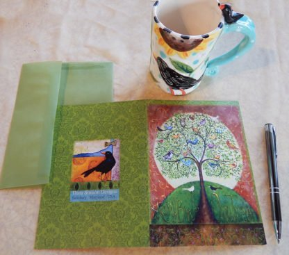 "Danasimson.com Back of ""many Birds One Tree"" Gift card with vellum envelope"