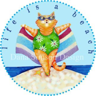 "Danasimson.com ""Life's a Beach"" beach cat car art sticker"