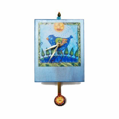 Creative Precious Time Pendulum Clock has a blue bird of happiness under a zen sun. It encourages you to release your creative bird. the clock body is painted metallic blue- there is a sun in the bottle cap pendulum and a glass bead detail at the clocks top.