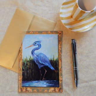 Danasimson.com Gift card Blue Heron in marsh with vellum envelope