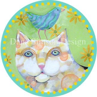 Danasimson.com Cat with bird friend car art sticker