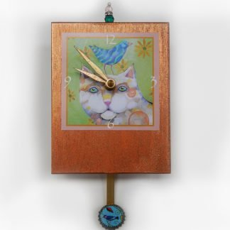 Danasimson.com Cat & bird friends precious time clock- handmade/painted gold background. Bird sits on cat's head. Bead detail and pendulum with small bird image in it.