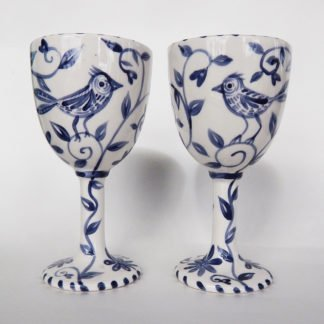 Danasimson.com Custom Wedding goblets; happy nest Delft blue brushwork featuring a garden and birds.