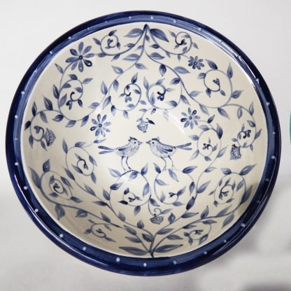 "Danasimson.com Delft Blue birds ""Happy.nest"" bowl has hand painted love birds in a garden with acorns signifying long love."