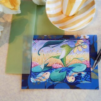 "Danasimson.com Gift card ""hop to it"" Frog and Daisy with vellum envelope"