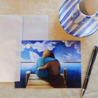 """Danasimson.com Gift card """"friends"""" two friends on dock with vellum envelope"""
