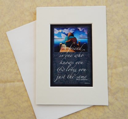 """Danasimson.com Matted art card with envelope, """"Friends"""" quote, two people on dock image."""