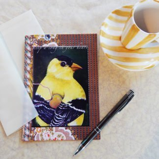 "Danasimson.com Gift card ""Keep a song in your heart"" finch with heart with vellum envelope"