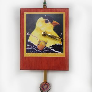 Finch Precious Time Clock has a bright yellow finch holds a golden heart (keep a song in your heart) the clock body is copper color a flower image is in the bottle cap pendulum