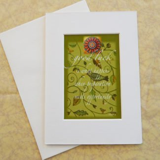 "Danasimson.com Matted art card with envelope, ""Good Luck"" quote, bird and vine image."
