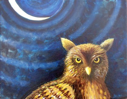 "Danasimson.com Original oil Painting ""Night Owl"" Portrait showing owl against night with a sliver moon, in a black folk art gold scrolled frame."