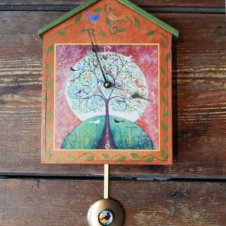 Danasimson.com many Birds One Tree Big pendulum wall clock