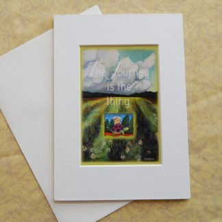 "Danasimson.com Matted art card with envelope, ""The Journey is the thing"" quote, tortoise and hare image."