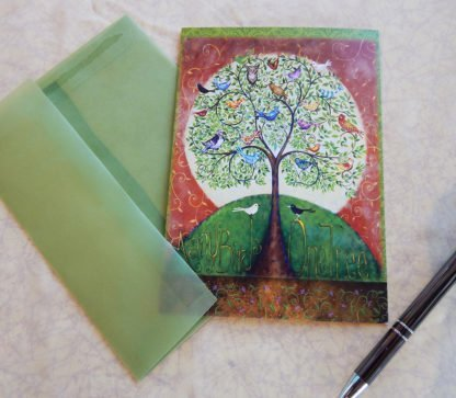 "Danasimson.com Gift card ""Many Birds One Tree"" with vellum envelope"