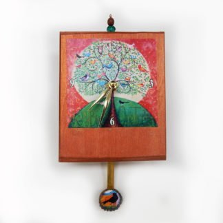 Danasimson.com Many Birds Tree precious time clock has a bottle cap pendulum with a small bird. The main image has many birds in one tree and has that saying in the painting. the background of the wooden clock body is painted copper-with a bead detail on the top.