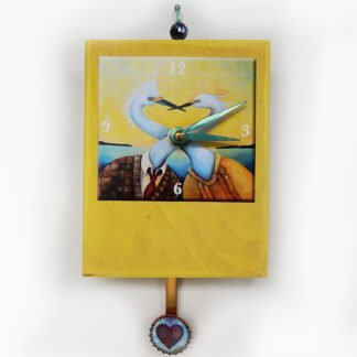 Danasimson.com Egrets Precious Time Clock has two egrets in a suit and a dress with their necks entwined the title is NoEgrets. Wooden clock body is yellow- a little heart is in the bottle cap pendulum. It has a bead detail on top.