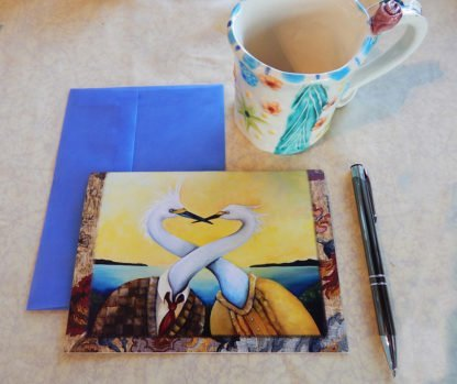 "Danasimson.com Gift card ""No rEgrets"" two egrets with necks intertwined with vellum envelope"
