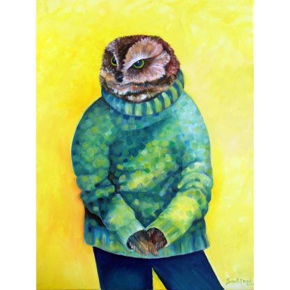 "Danasimson.com Original oil Painting ""Studious Owl"" Portrait showing owl wearing a green sweater, in a gold frame.""Studious Owl"" Portrait showing owl wearing a green sweater, in a gold frame."