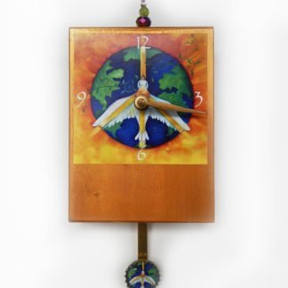 Danasimson.com Peace Precious Time Clock has a peace dove flying over earth. the clock body is painted a deep gold. There is a small peace dove on bottle cap pendulum or a heart if you choose.