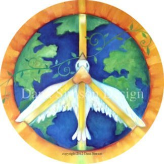 "Danasimson.com ""peace"" with dove over the earth car art sticker"