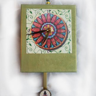 Danasimson.com Pop Art Flower Precious Time Clock has a colorful daisy as the main image and a honey bee on the bottle cap pendulum. The wooden body of the clock is painted a pleasant emerald green. There is a bead detail at the top.