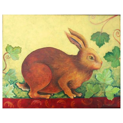 "Danasimson.com Original oil Painting ""Guilded Rabbit"" shows a brown rabbit in grape vines. Metallic gold foil background. Decorative painting in black folk art frame with gold scrolling. Detail of rabbit."