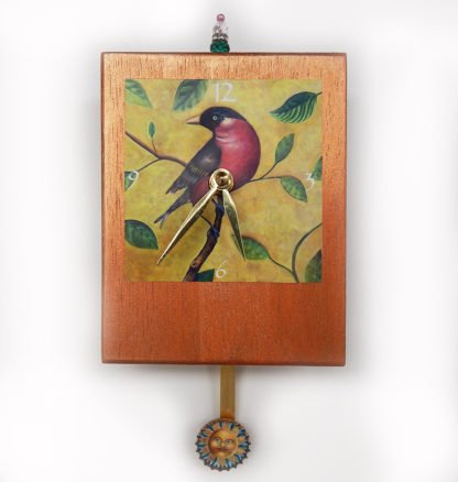 Danasimson.com Robin Precious Time Clock has my robin red-breast image in a tree, over a copper colored wooden clock body- a sunshine face smiles in the pendulum.