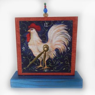 Danasimson.com Rooster Precious Time Shelf Clock red and deep blue painted wood with rooster image and bead detail.