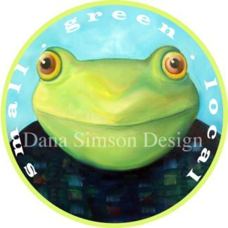 "Danasimson.com ""Small Green Local"" with frog face car art sticker"