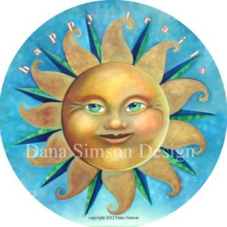 "Danasimson.com ""Happy Trails"" with sun face car art sticker"