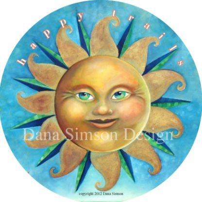 "Danasimson.com ""Happy Trails"" with sun face car art sticker"