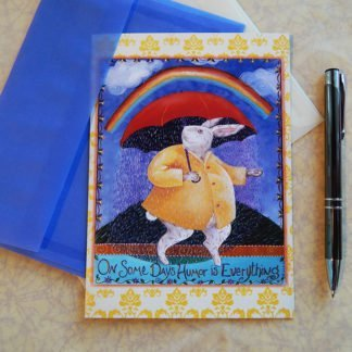 "Danasimson.com Gift card ""Some days humor is everything"" rabbit with rain under umbrella with vellum envelope"
