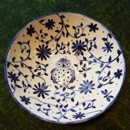 danasimson.com blue brush bowl Owl