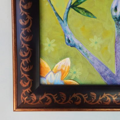 Danasimson.com original painting golden bird in folk art frame