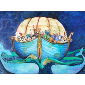art print of Noah's ark in the shape of earth full of animals