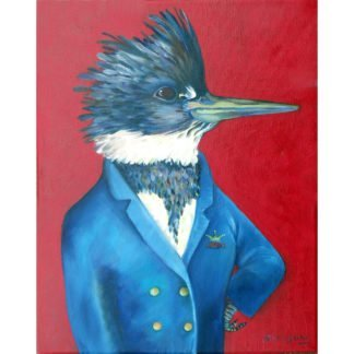 danasimson.com art print of a Kingfisher in a blue captain's jacket with a crown and fish on it. Bright red back ground.