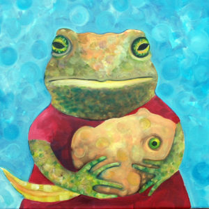 Art Print of a mam spade foot toad holding a tadpole baby. Bright aqua background