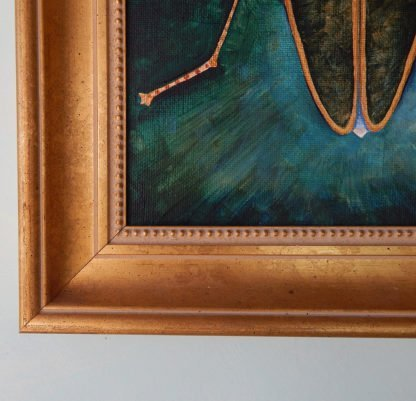 Danasimson.com original painting lightening bug in gold frame detail