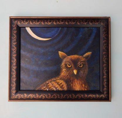 Danasimson.com original painting Night Owl in folk art frame detail