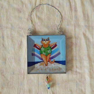 Danasimson.com double sided ornament cat-life's a beach image