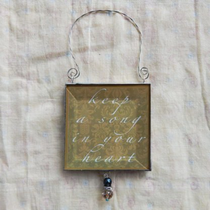 Danasimson.com double sided ornament keep a song in your heart quote
