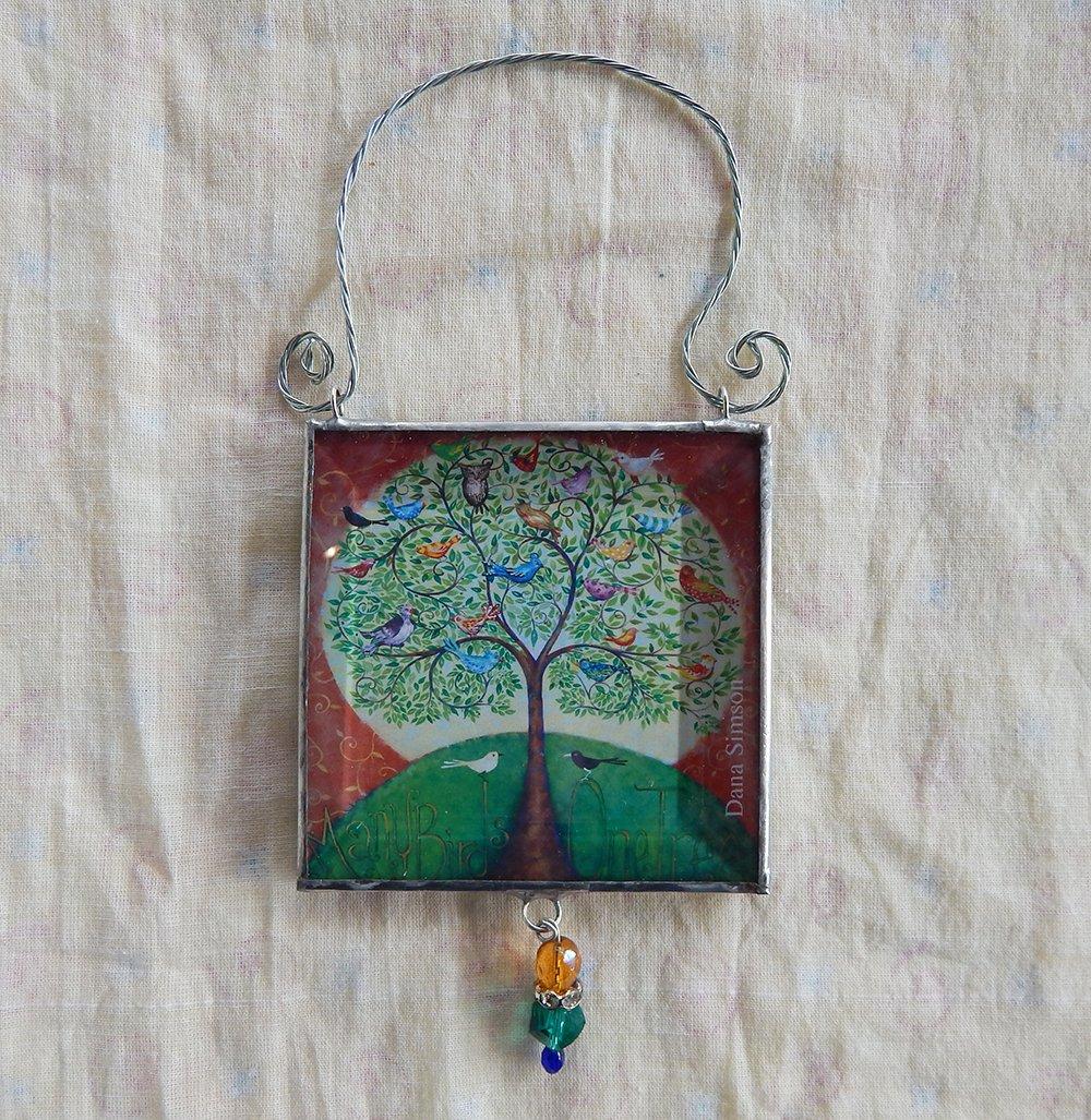 Many Birds One Tree Lookinglass Ornament - Dana Simson Design