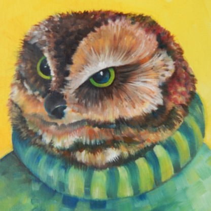 Danasimson.com original Owl portrait painting face detail