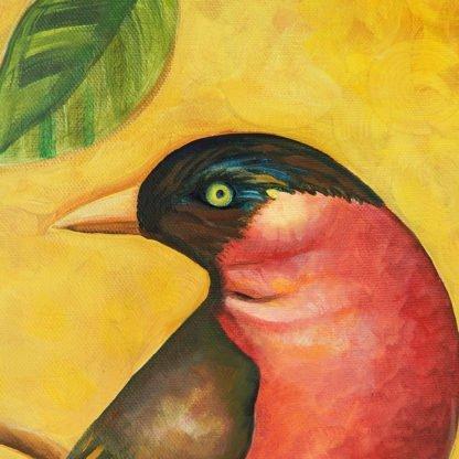 Danasimson.com original Red Bird painting in folk art frame head detail