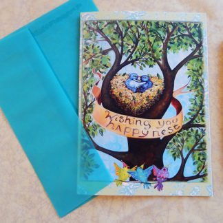"Danasimson.com Gift card ""Wishing you Happy Nest"" with vellum envelope"