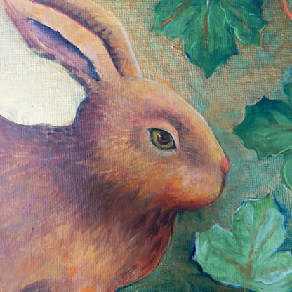 Danasimson.com original Rabbit painting in folk art frame face detail